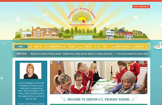 Click to view school website design for Corton Church of England Primary School