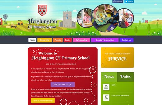 Click to view school website design for Heighington CE Primary