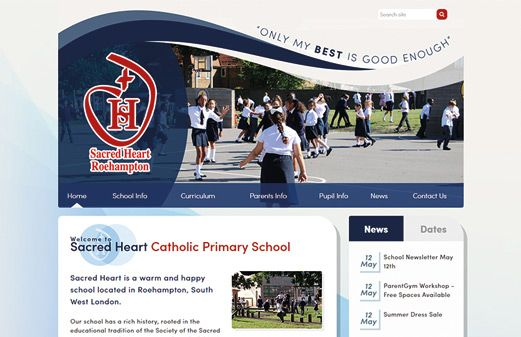 Click to view school website design for Sacred Heart Catholic Primary - Roehampton