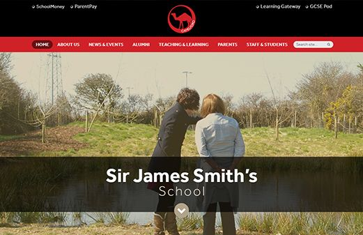 Click to view school website design for Sir James Smith's School