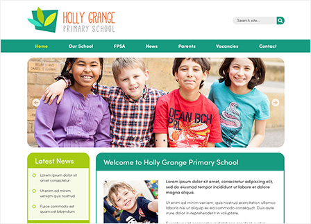 Friendly School Website Template: Green