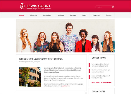 Professional School Website Template: Red