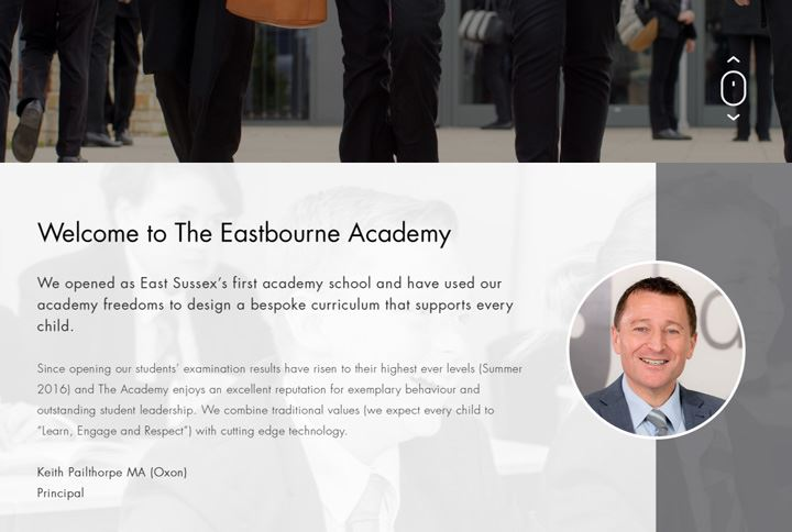 Eastbourne Academy School Website Welcome Message - The School