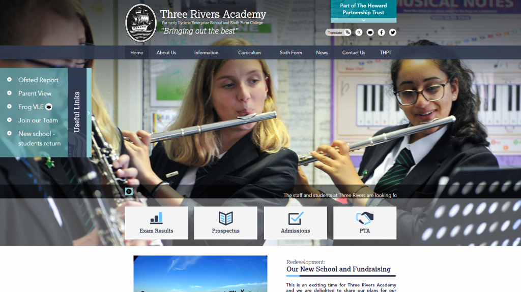 Three Rivers Academy Website by Greenhouse School Websites