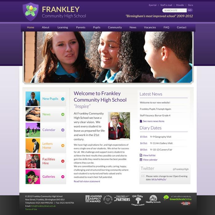Frankley Community HIgh School website home page