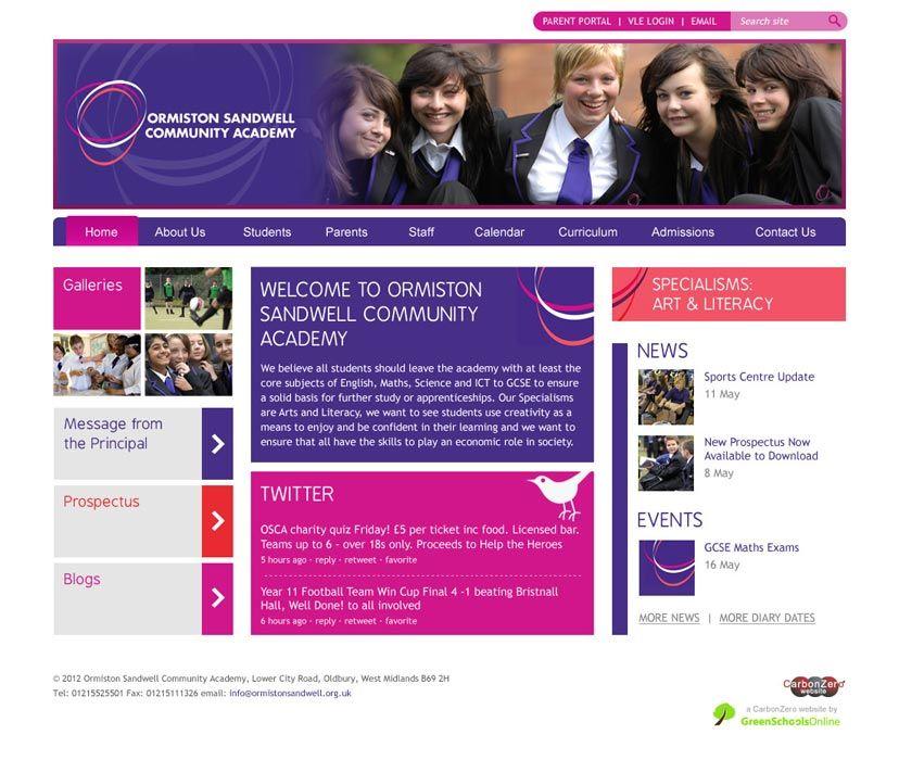 Ormiston Academy website design