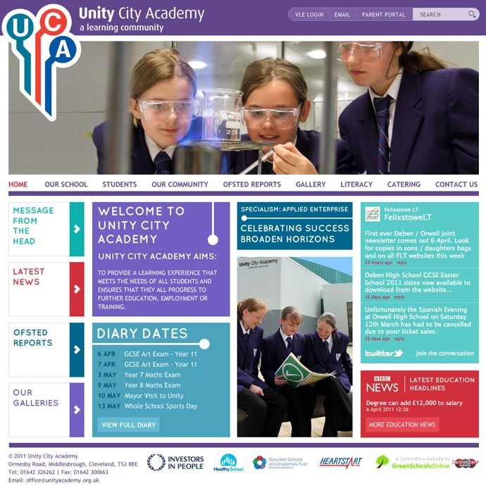 Unity City Academy website home page