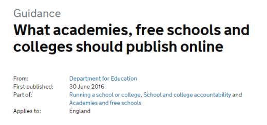 What academies free schools and colleges should publish online