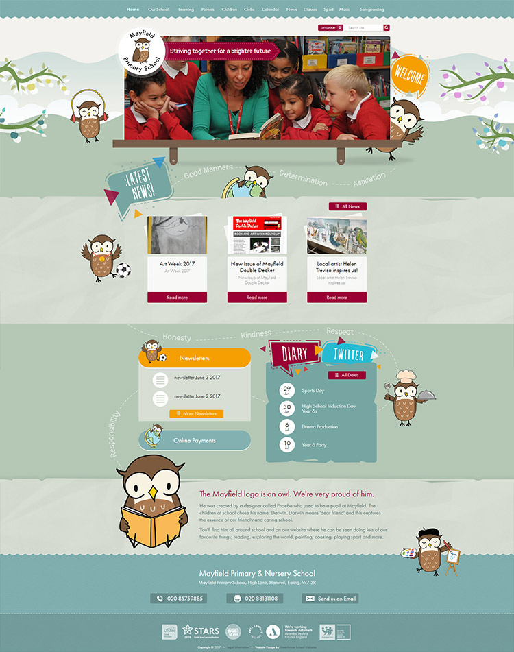 mayfield primary school home page design