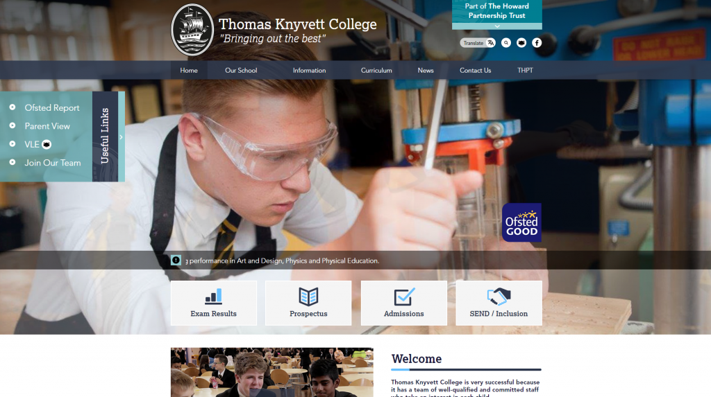 Thomas Knyvett College Website by Greenhouse School Websites