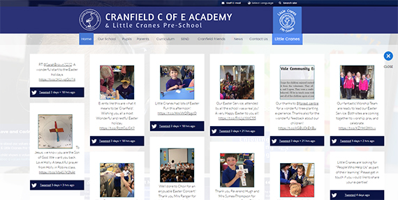 school website features - social media wall