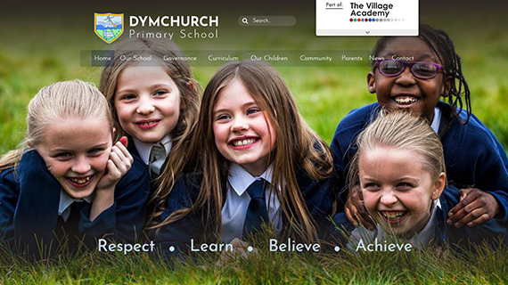 school website features - full screen photos