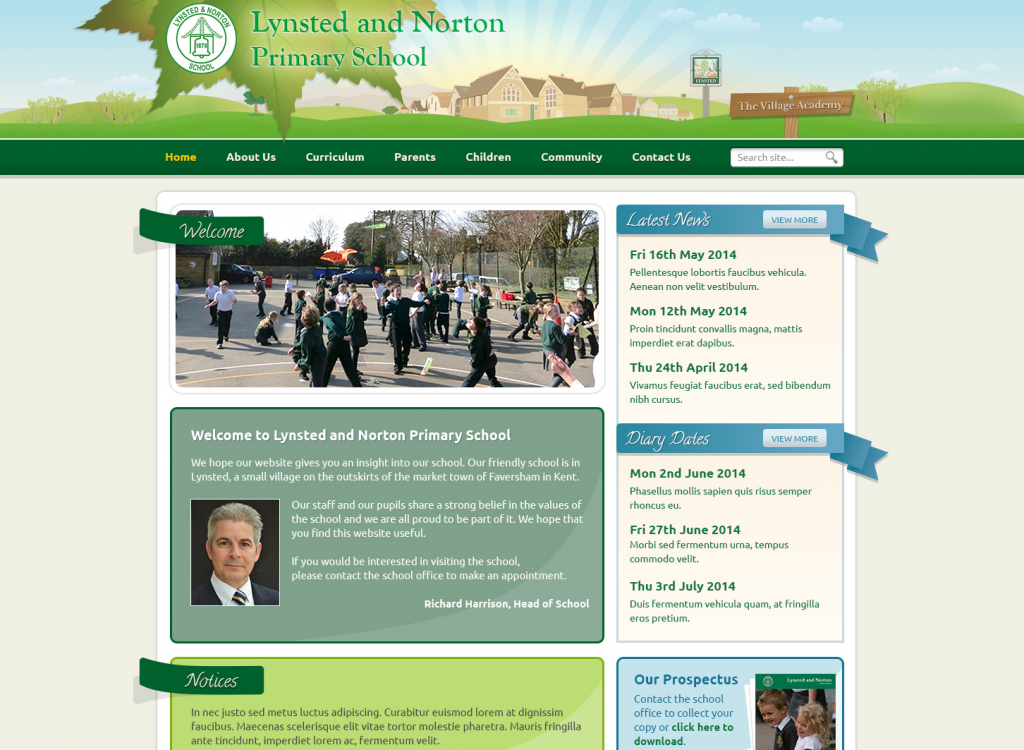 Lynsted and Norton Primary Trust School Websites Design 2014 by Greenhouse School Websites