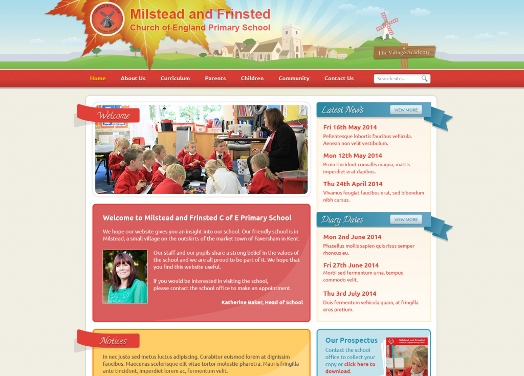 Milstead and Frinsted Primary Trust School Websites Design 2014 by Greenhouse School Websites