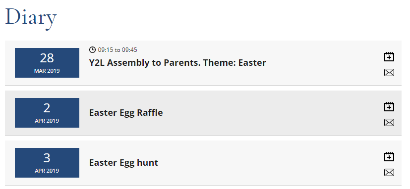 Easter Diary Listing