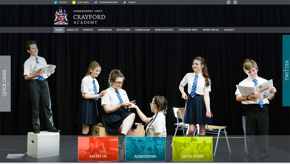Caryford Academy website design