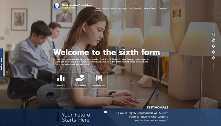 Sixth Form School Website Design