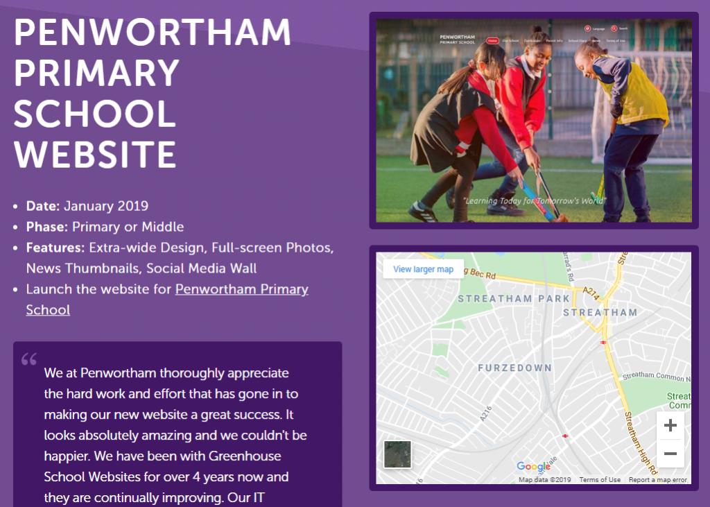 school website portfolio detail
