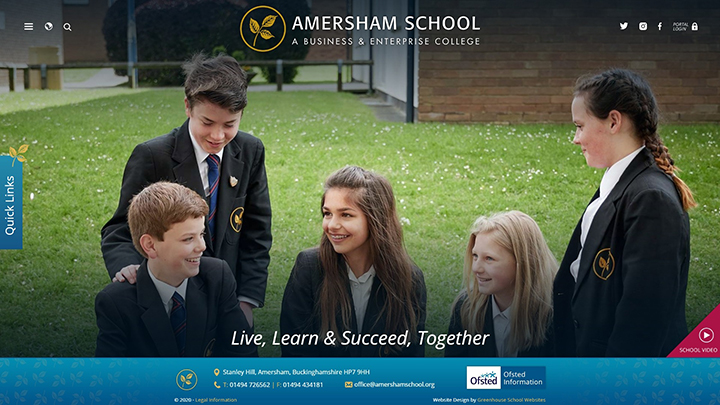 Amersham School Website Design Homepage
