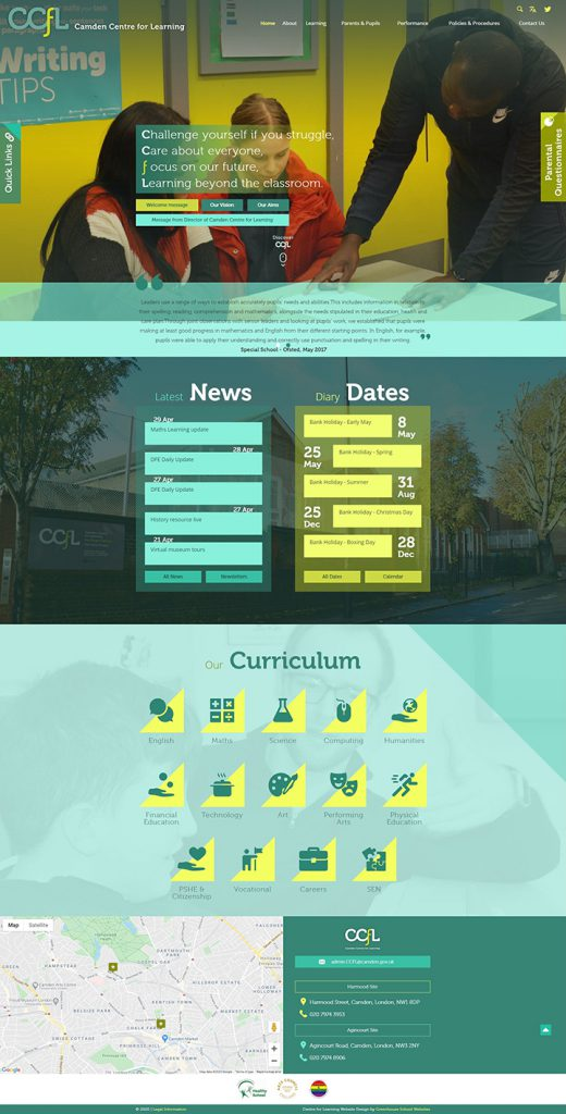 Camden Centre for Learning Website Design