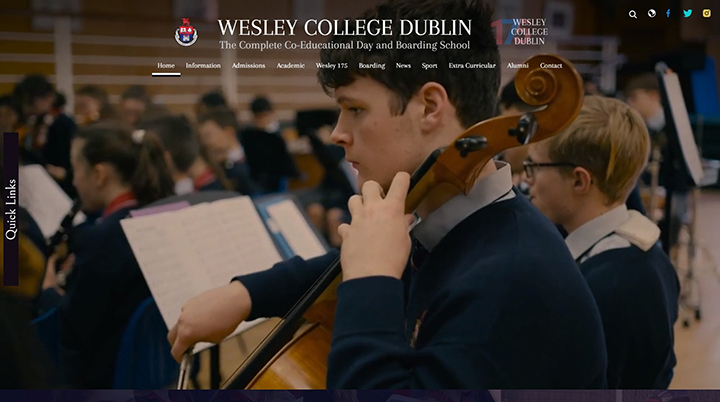 Wesley College Dublin website design
