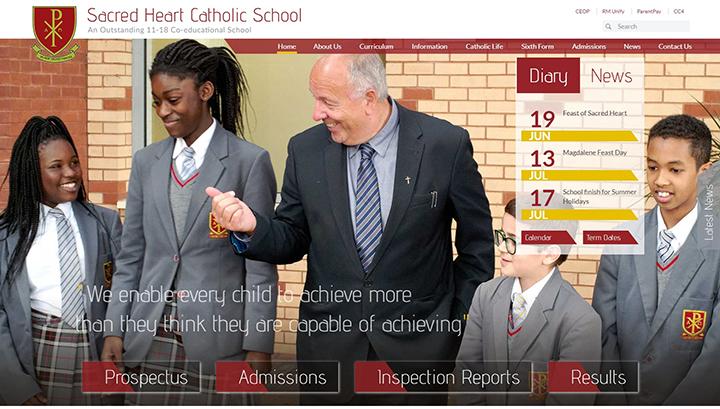 Southwark London Sacred Heart Catholic School website design