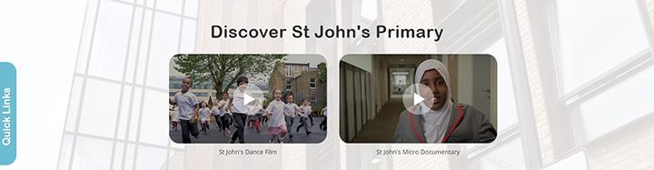 Video panel on website homepage: St John's Primary School, Ealing