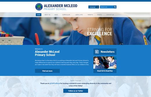 Screenshot of the Alexander McLeod Primary School website
