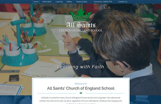 Screenshot of the All Saints Primary Barnet website