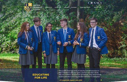 Screenshot of the Antrim Grammar School website