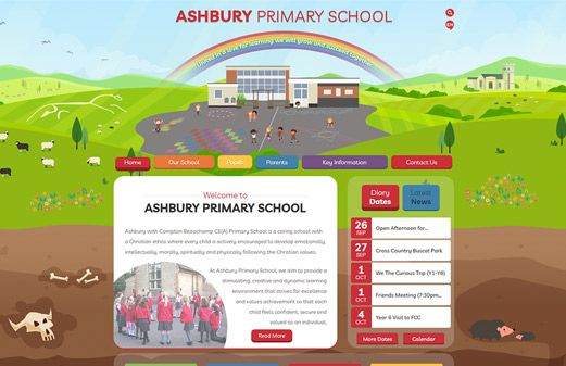 Screenshot of the Ashbury Primary School website