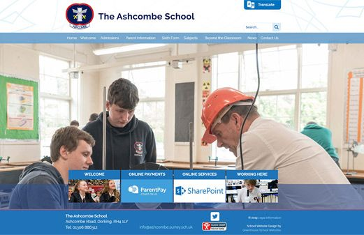 Screenshot of the The Ashcombe School website