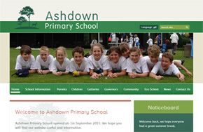 Screenshot of the Ashdown Primary School website