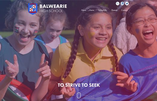 Screenshot of the Balwearie High School website