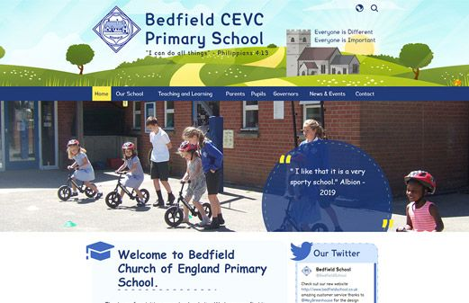 Screenshot of the Bedfield Primary website