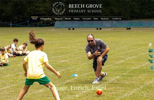 Screenshot of the Beech Grove Primary School website