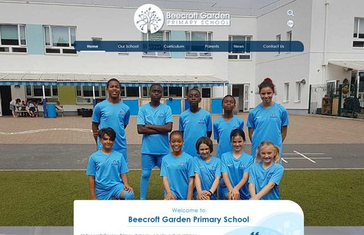 Screenshot of the Beecroft Garden Primary School website