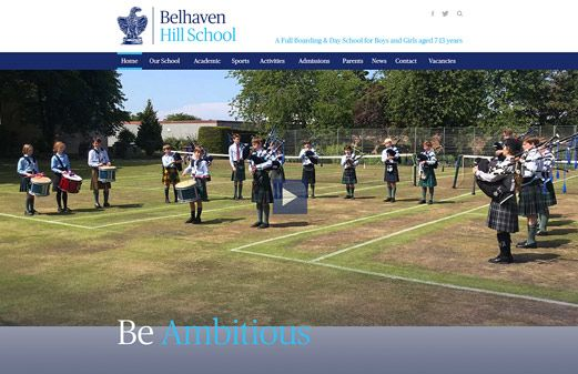 Screenshot of the Belhaven Hill School website