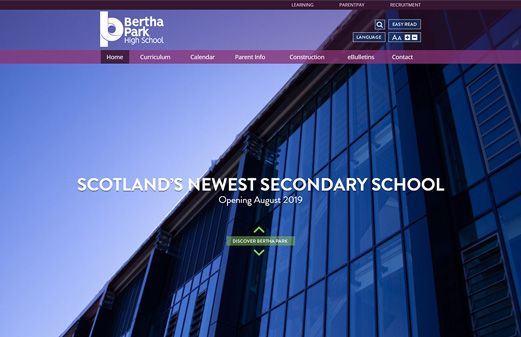 Screenshot of the Bertha Park High School website