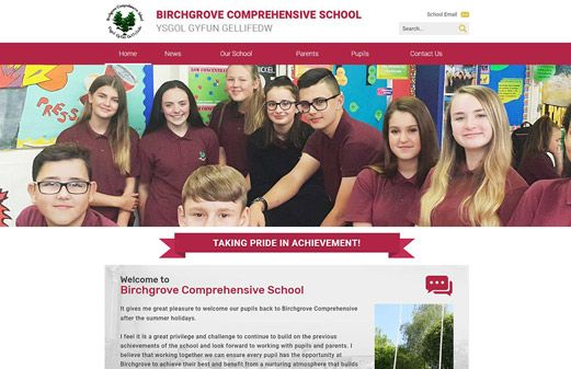 Screenshot of the Birchgrove Comprehensive School website