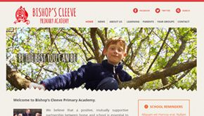 Screenshot of the Bishop's Cleeve Primary Academy website