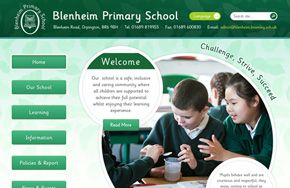 Screenshot of the Blenheim Primary School website