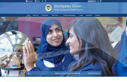 Screenshot of the Bordesley Green Girls' School & Sixth Form website