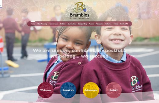 Screenshot of the Brambles Primary Academy website