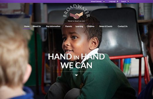 Screenshot of the Broadwater Primary School website
