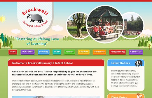 Screenshot of the Brockwell Nursery & Infant School website