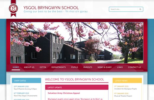 Screenshot of the Bryngwyn School website