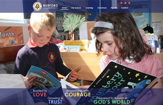 Screenshot of the Burford C of E Primary School website