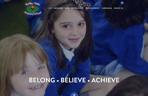Click to view school website design for Burley Oaks Primary School