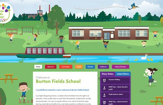 Screenshot of the Burton Fields School website